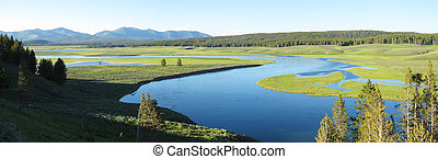 Landscape Panorama of Yellowstone National Park - Panoramic...