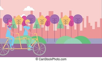 landscape panorama scene - happy man and woman riding tandem...
