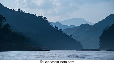 Landscape panoramic view of Mekong river in Laos