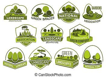 Green park and garden landscape icons. Summer park and ...