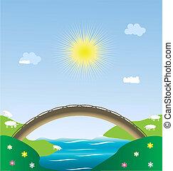 landscape pastoral - landscape - sun, blue sky, river, ...