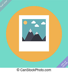Landscape photo icon - vector illustration.