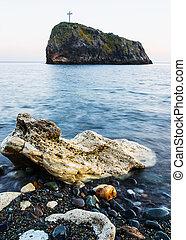Landscape photo of rocks in the sea