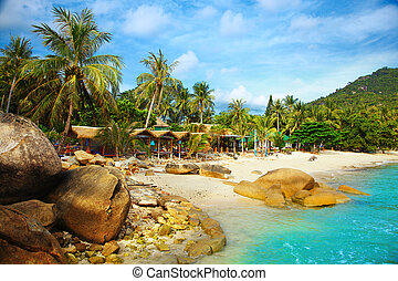 Landscape photo of tranquil island beach resort