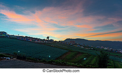 Sunset in the evening on hill of Phu Tub Berk in Phetchabun, Thailand