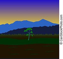 Landscape - Primitive landscape with mountains, fields and...