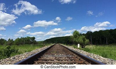 Landscape, railroad and blue sky with clouds timelapse