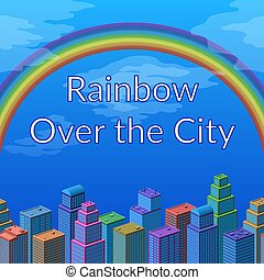 Landscape, Rainbow and City