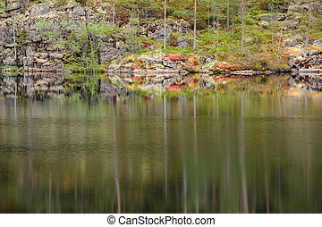 Landscape reflection from forest lake in Finland