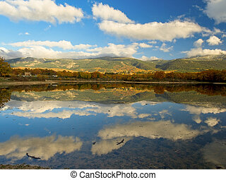 Landscape reflections and clouds in a lake