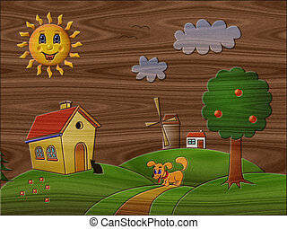 Landscape relief painting on generated wood texture background