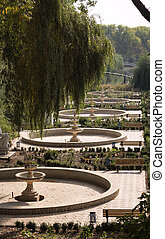 Landscape, resting place in the park, among fountains, shops and bridges