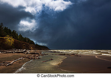 Landscape, river during a storm. Ob river, Novosibirsk ...