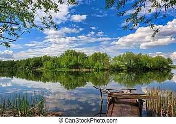 Landscape, river, fishing, clouds