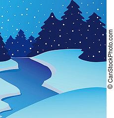 Landscape river on winter - vector illustration.
