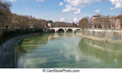 Landscape River Tiber Rome Italy