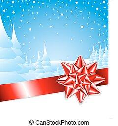 landscape, rood, kerstmis, lint, boog