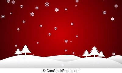 Landscape scene with Christmas trees on a red background.