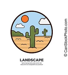Landscape scenery design desert and cactus trees growing in sand