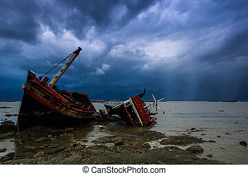 landscape, schipbreuk, -, visserboot, azie, thailand