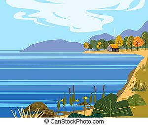 Landscape sea, lake mountains, hills. Coast autumn scenic forest, meadows. Vector illustration background poster banner trendy flat cartoon style