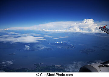 Landscape seen from an airplane window
