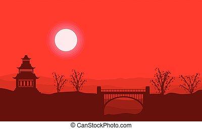 Landscape silhouette of pavilion with bridge