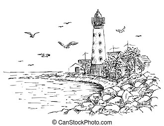 Landscape sketch of the lighthouse and the sea.