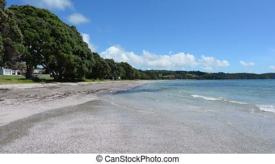 Landscape Snells beach New Zealand - Panoramic landscape of...
