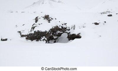 Landscape snowy desert North Pole Svalbard Arctic. Way from...