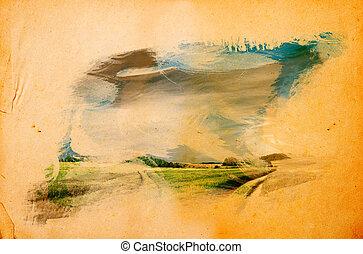 Landscape splashed on old grunge paper