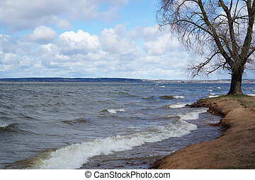 spring storm on the shore of the lake
