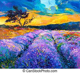 Landscape - Original oil painting of lavender fields on...