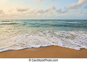 landscape, strand, sea., achtergrond, natuur