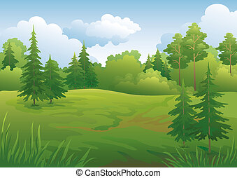 Landscape, summer forest - Landscape: summer green forest...