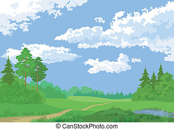 Landscape, summer forest - Landscape, summer green forest...