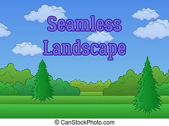 Landscape, Summer Forest, Seamless