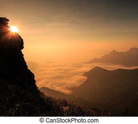 Landscape sunrise in nature at Phu chi fa in Chiang...