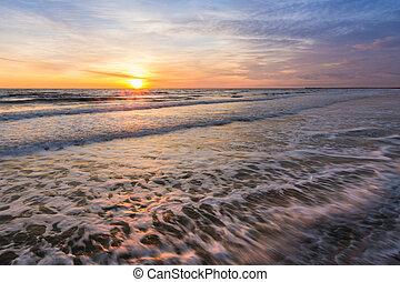 Landscape - sunset on the sea shore, Black sea, Anapa, Russia