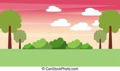 landscape sunset trees bushes nature animation hd