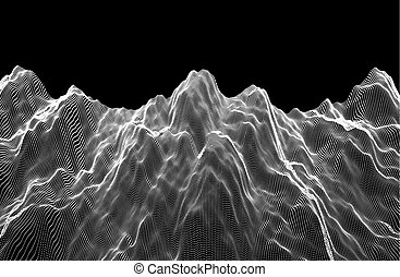 Landscape. Terrain. Abstract wavy background with dynamic effect. Cyberspace grid. 3d technology vector illustration.