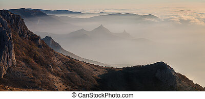The mountains at dawn in the mist
