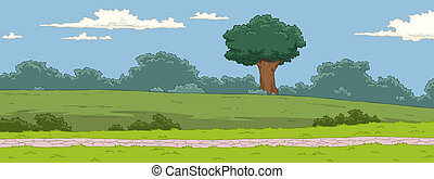 Landscape - The natural landscape cartoon background vector ...