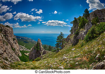 The view from the heights of the mountains to the coast