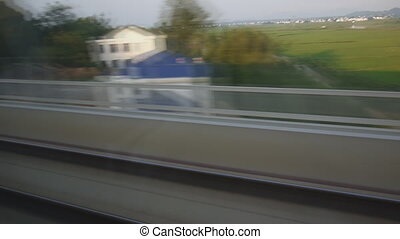 Landscape through train window