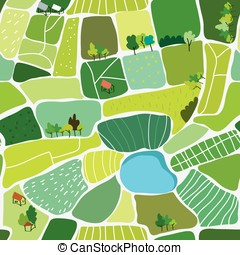 Landscape top view seamless pattern - vector illustration