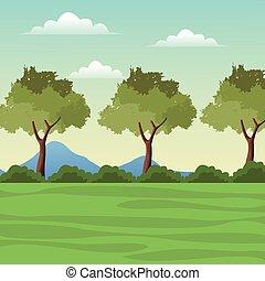 landscape tree mountain grass