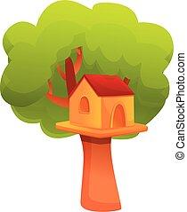Landscape treehouse icon, cartoon style - Landscape ...