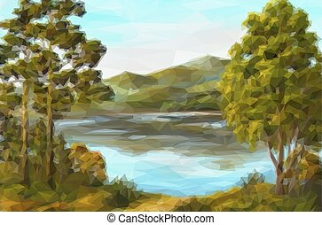 Landscape, Trees and Lake - Landscape, Trees on the Shore of...
