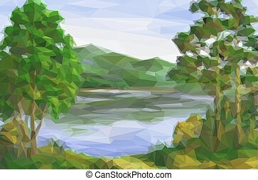 Landscape, Trees and Lake